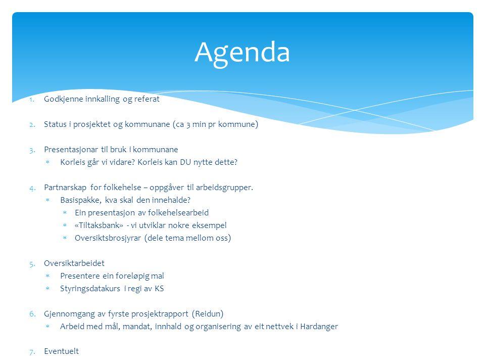 Agenda 1.Godkjenne innkalling og referat 2.Status i prosjektet og kommunane (ca 3 min pr kommune) 3.Presentasjonar til bruk i kommunane  Korleis går vi vidare.