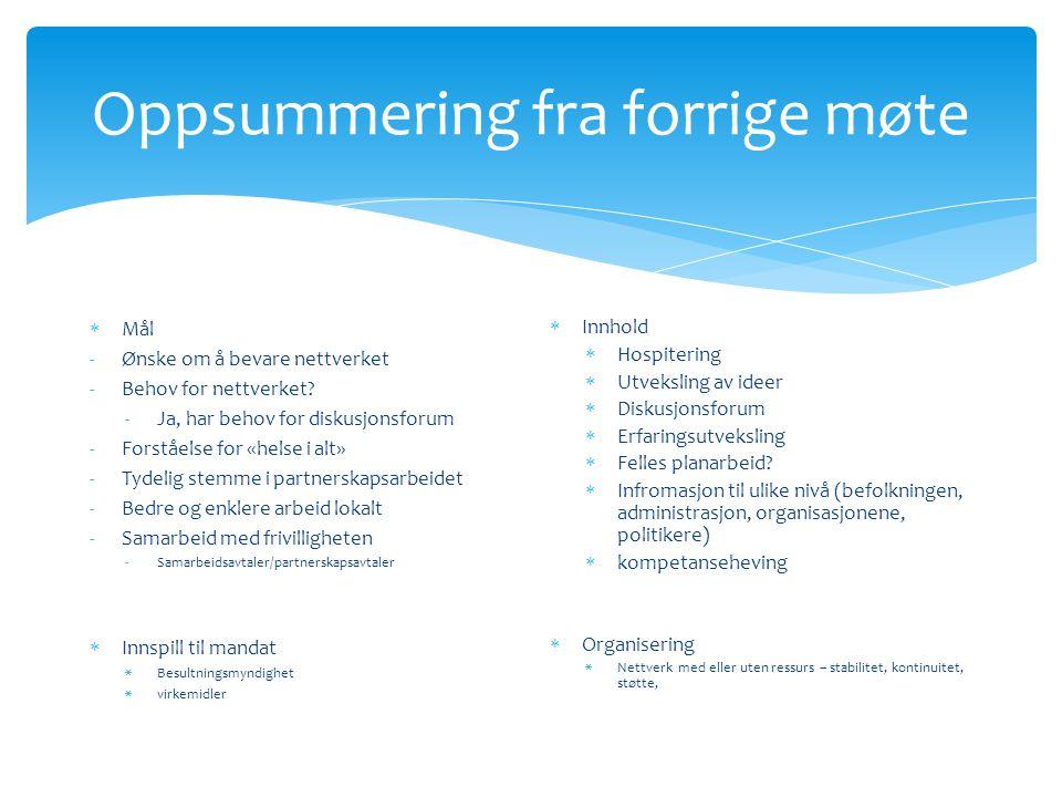 Oppsummering fra forrige møte  Mål -Ønske om å bevare nettverket -Behov for nettverket.