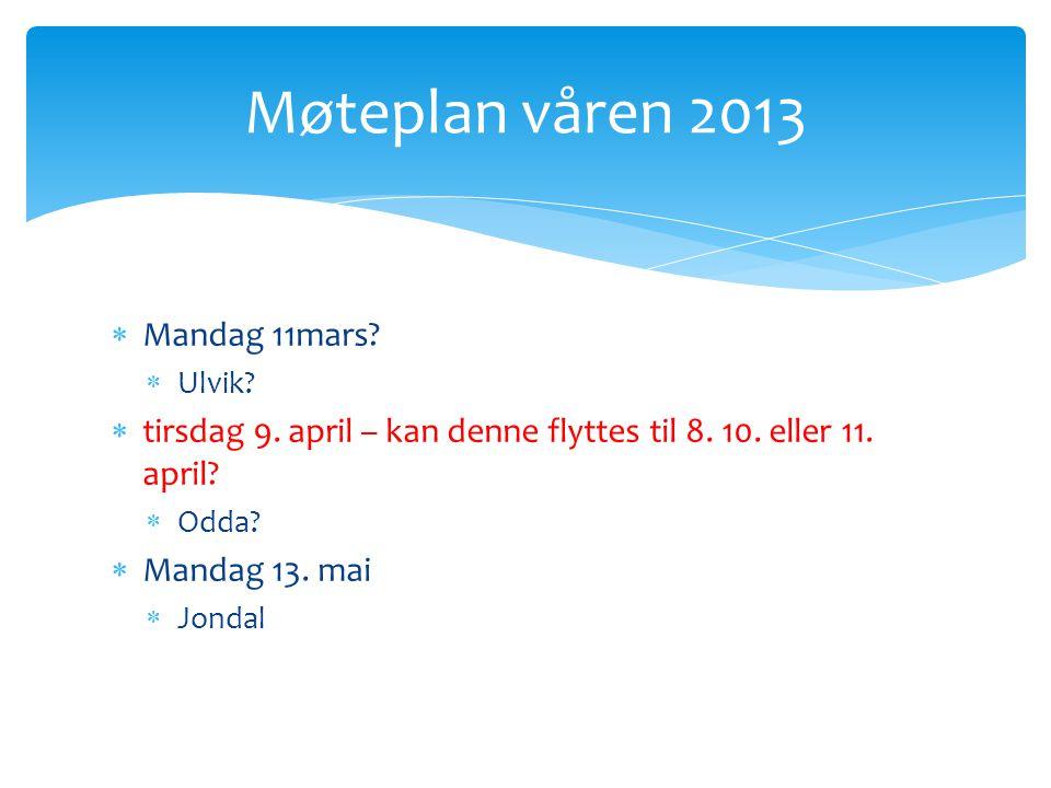  Mandag 11mars.  Ulvik.  tirsdag 9. april – kan denne flyttes til 8.
