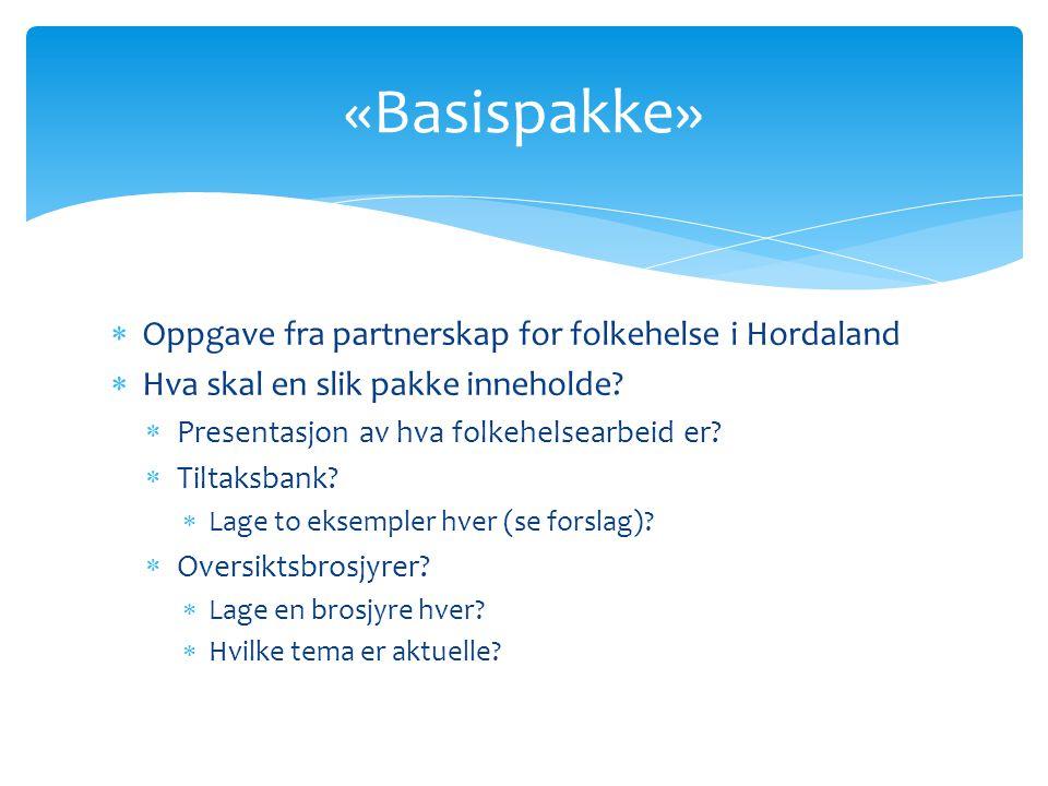  Oppgave fra partnerskap for folkehelse i Hordaland  Hva skal en slik pakke inneholde.