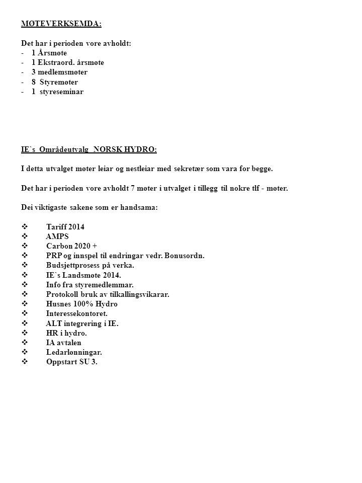 MØTEVERKSEMDA: Det har i perioden vore avholdt: - 1 Årsmøte - 1 Ekstraord. årsmøte - 3 medlemsmøter - 8 Styremøter - 1 styreseminar IE`s Områdeutvalg