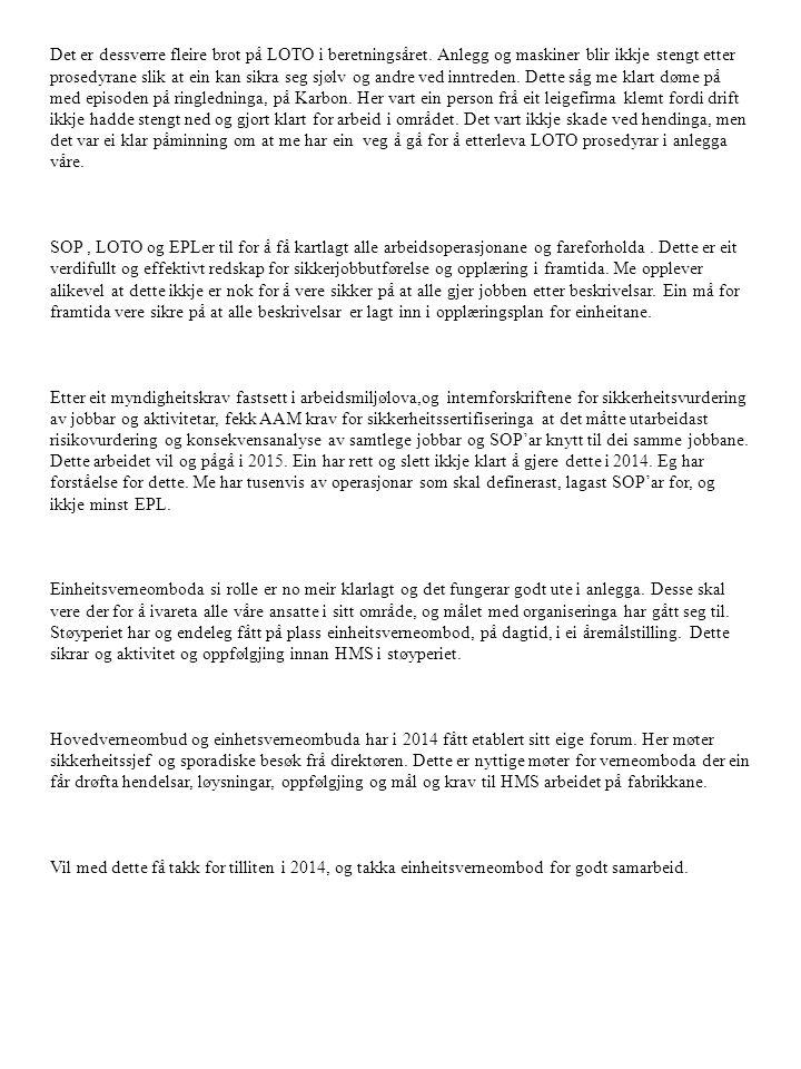 Skadestatestikk 2014: TRI hendelsar Hydro Aluminium Å rdal Siste 12 mnd.
