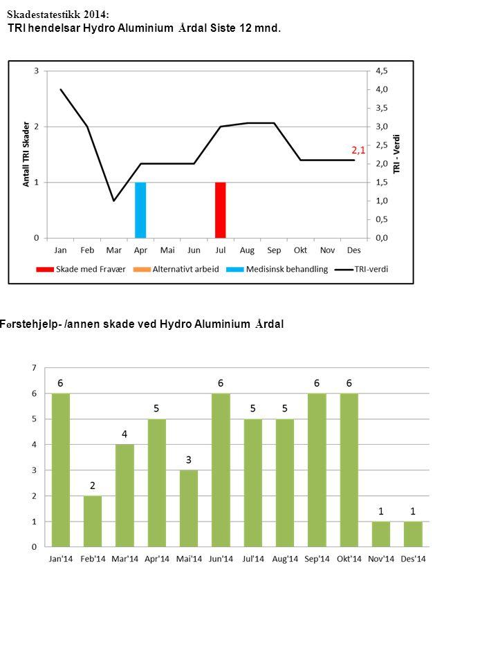 Skadestatestikk 2014: TRI hendelsar Hydro Aluminium Å rdal Siste 12 mnd. F ø rstehjelp- /annen skade ved Hydro Aluminium Å rdal