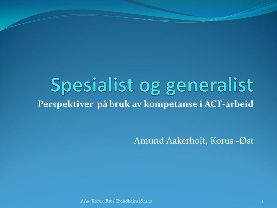 Perspektiver på bruk av kompetanse i ACT-arbeid Amund Aakerholt, Korus -Øst 1AAa, Korus Øst / Trondheim 18.11.10