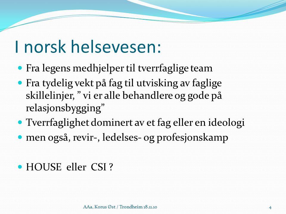 ACT, teamsammensetning Defineres som flerfaglige team, men med en praksis som er tilnærmet transdisciplinær (i følge Bailey) Allness har veldig tydelig og detaljert beskrivelse av oppgavene til leder/supervisor, psykiater, psykiatrisk sykepleier, fagutdannet helsearbeider (med spesialiserte oppgaver), brukerspesialist, helsearbeider på bachelornivå, paraprofesjonell helsearbeider, programassistent.