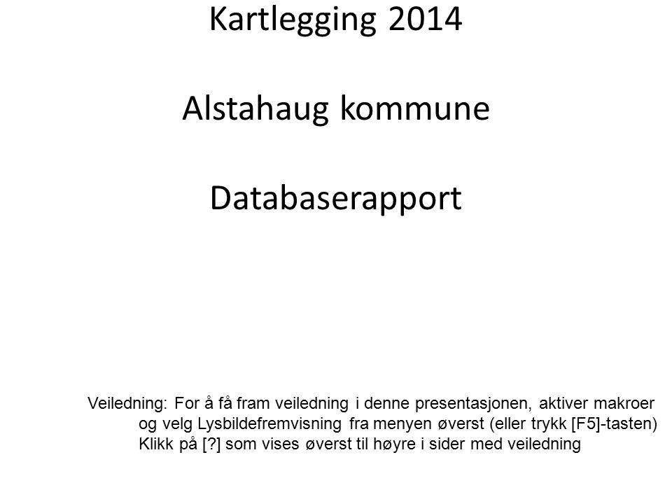 BrukerPlan Kartlegging 2014 Alstahaug kommune Databaserapport Veiledning: For å få fram veiledning i denne presentasjonen, aktiver makroer og velg Lys