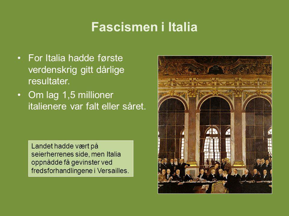 For Italia hadde første verdenskrig gitt dårlige resultater. Om lag 1,5 millioner italienere var falt eller såret. Landet hadde vært på seierherrenes