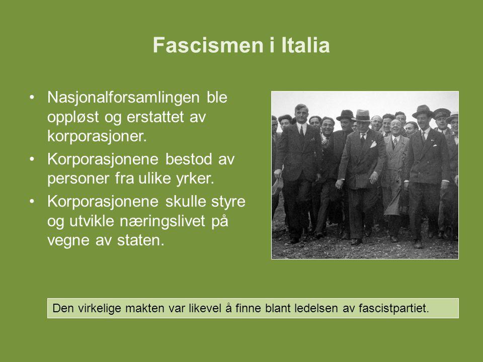 Fascismen i Italia Nasjonalforsamlingen ble oppløst og erstattet av korporasjoner. Korporasjonene bestod av personer fra ulike yrker. Korporasjonene s