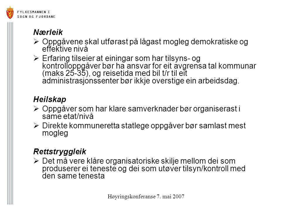 FYLKESMANNEN I SOGN OG FJORDANE Høyringskonferanse 7.
