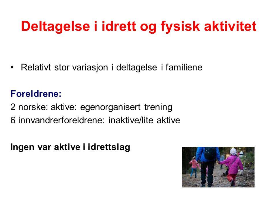 Barnas deltagelse I tre av familiene var barna aktive (1norsk, 2 innvandrer) - aktive i idrettslag og egenorganiserte aktiviteter I en familie (innvandrer) aktiviserte foreldrene barna med å tilrettelegge aktiviteter for dem i nærmiljøet I fire av familiene var barna lavaktive eller innaktive (1 norsk, 3 innvandrer).