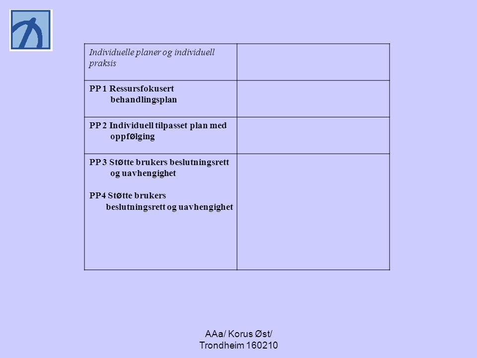 AAa/ Korus Øst/ Trondheim 160210 Individuelle planer og individuell praksis PP 1 Ressursfokusert behandlingsplan PP 2 Individuell tilpasset plan med o