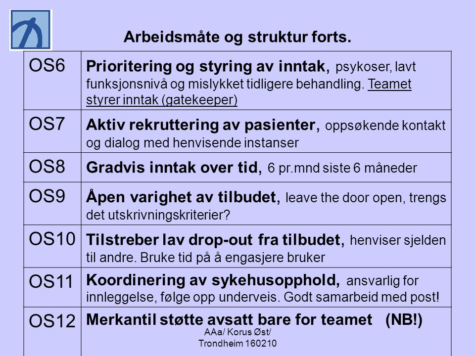 AAa/ Korus Øst/ Trondheim 160210 Arbeidsmåte og struktur forts. OS6 Prioritering og styring av inntak, psykoser, lavt funksjonsnivå og mislykket tidli