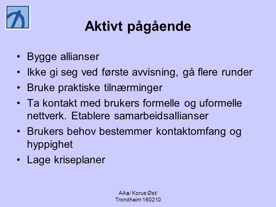AAa/ Korus Øst/ Trondheim 160210 Aktivt pågående Bygge allianser Ikke gi seg ved første avvisning, gå flere runder Bruke praktiske tilnærminger Ta kontakt med brukers formelle og uformelle nettverk.