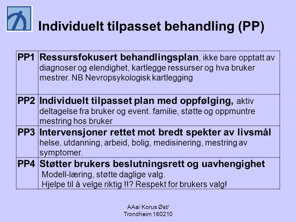 AAa/ Korus Øst/ Trondheim 160210 Individuelt tilpasset behandling (PP) PP1Ressursfokusert behandlingsplan, ikke bare opptatt av diagnoser og elendighet, kartlegge ressurser og hva bruker mestrer.