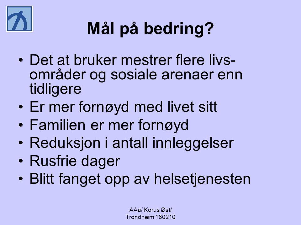 AAa/ Korus Øst/ Trondheim 160210 Mål på bedring? Det at bruker mestrer flere livs- områder og sosiale arenaer enn tidligere Er mer fornøyd med livet s