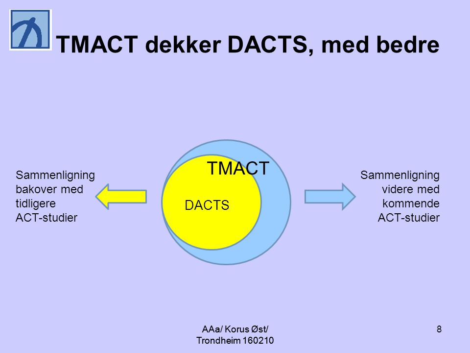 AAa/ Korus Øst/ Trondheim 160210 8 TMACT dekker DACTS, med bedre Sammenligning bakover med tidligere ACT-studier Sammenligning videre med kommende ACT-studier DACTS TMACT