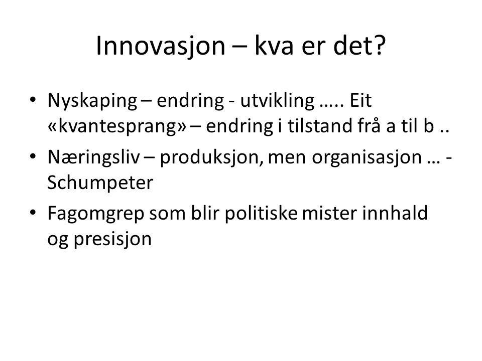 Innovasjon – kva er det. Nyskaping – endring - utvikling …..