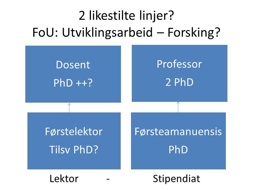 2 likestilte linjer FoU: Utviklingsarbeid – Forsking Lektor - Stipendiat