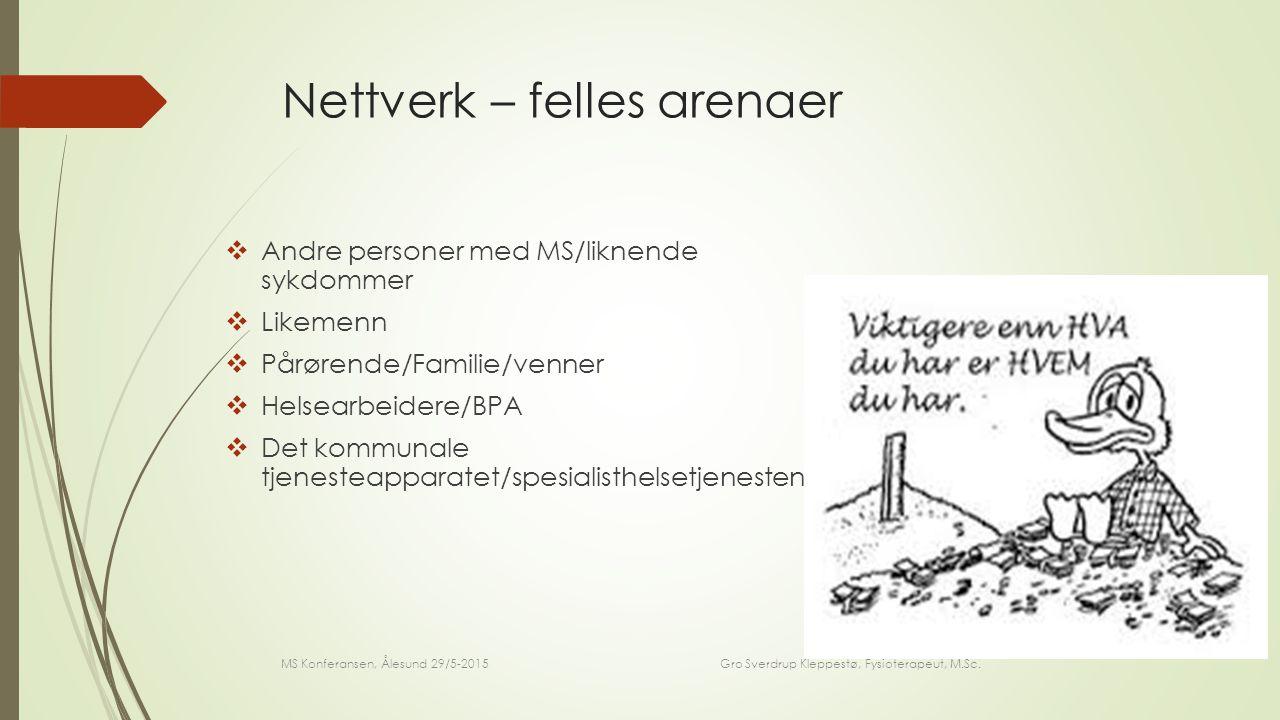 Nettverk – spesifikke arenaer  For MS pasienten:  Likemenn / mestringssenter m/kurs for mestring av å leve med MS  For Pårørende:  Likemenn for pårørende, Pårørendesenteret / mestringssenter m/kurs for pårørende  For helsepersonell:  Kolleger / veiledningsgrupper / fagspesifikke interessegrupper MS Konferansen, Ålesund 29/5-2015 Gro Sverdrup Kleppestø, Fysioterapeut, M.Sc.