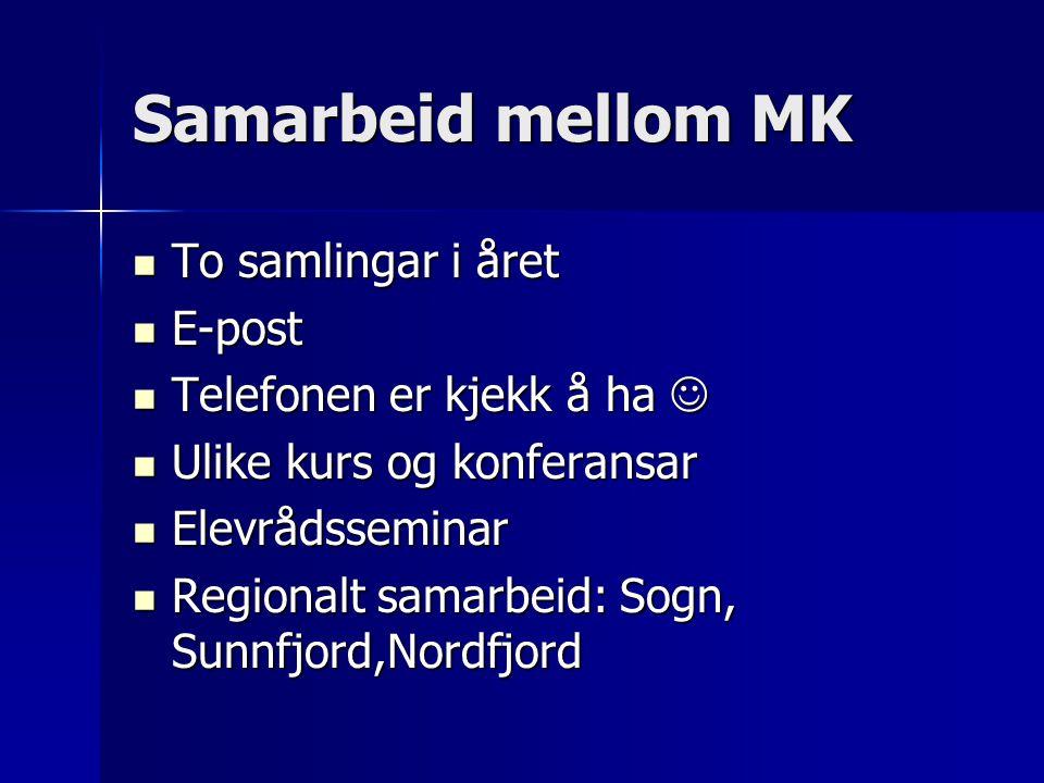 Samarbeid mellom MK To samlingar i året To samlingar i året E-post E-post Telefonen er kjekk å ha Telefonen er kjekk å ha Ulike kurs og konferansar Ulike kurs og konferansar Elevrådsseminar Elevrådsseminar Regionalt samarbeid: Sogn, Sunnfjord,Nordfjord Regionalt samarbeid: Sogn, Sunnfjord,Nordfjord