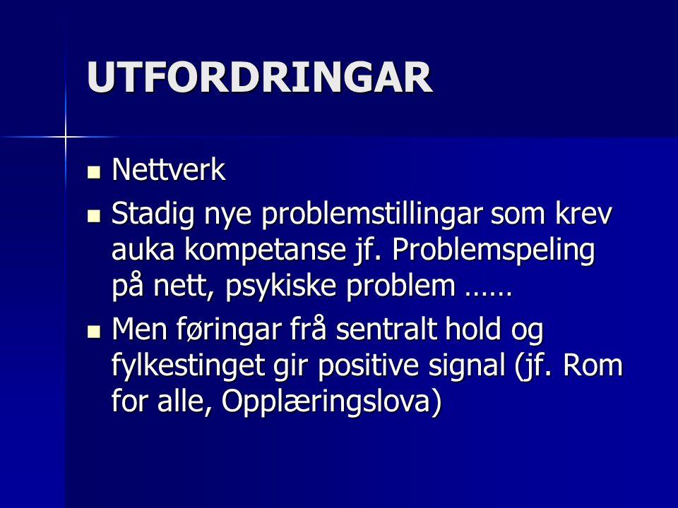 UTFORDRINGAR Nettverk Nettverk Stadig nye problemstillingar som krev auka kompetanse jf. Problemspeling på nett, psykiske problem …… Stadig nye proble