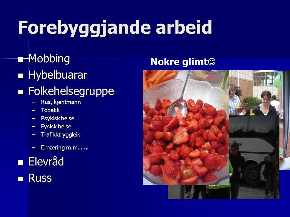 Forebyggjande arbeid Mobbing Mobbing Hybelbuarar Hybelbuarar Folkehelsegruppe Folkehelsegruppe –Rus, kjentmann –Tobakk –Psykisk helse –Fysisk helse –T
