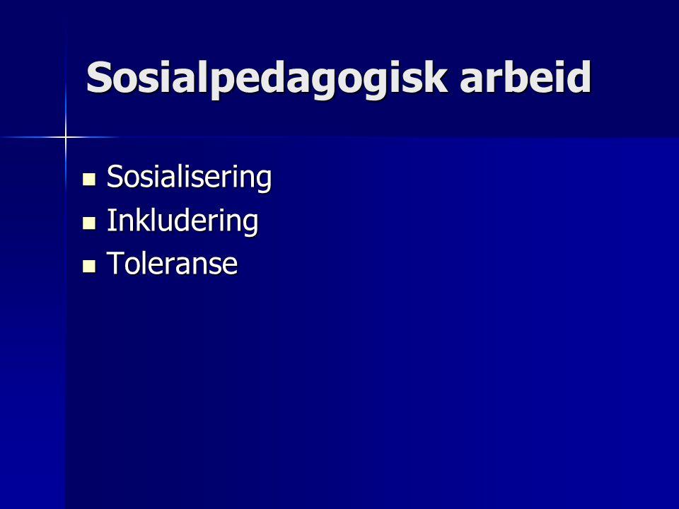 Sosialpedagogisk arbeid Sosialisering Sosialisering Inkludering Inkludering Toleranse Toleranse
