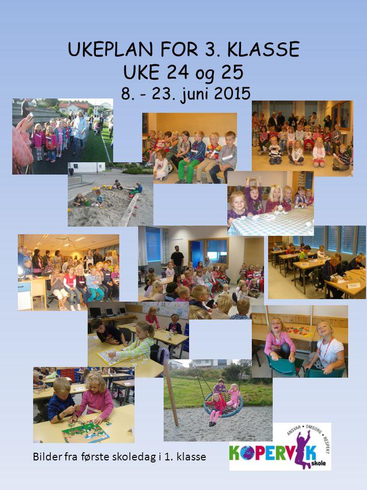 UKEPLAN FOR 3. KLASSE UKE 24 og 25 8. - 23. juni 2015 Bilder fra første skoledag i 1. klasse