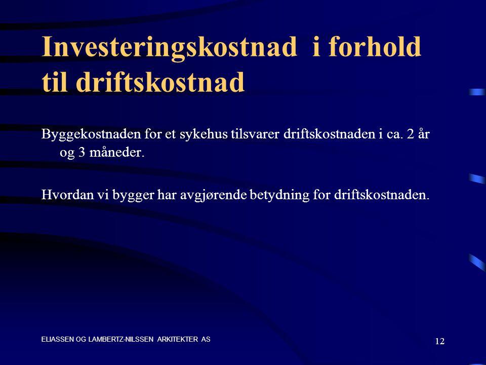ELIASSEN OG LAMBERTZ-NILSSEN ARKITEKTER AS 12 Investeringskostnad i forhold til driftskostnad Byggekostnaden for et sykehus tilsvarer driftskostnaden i ca.
