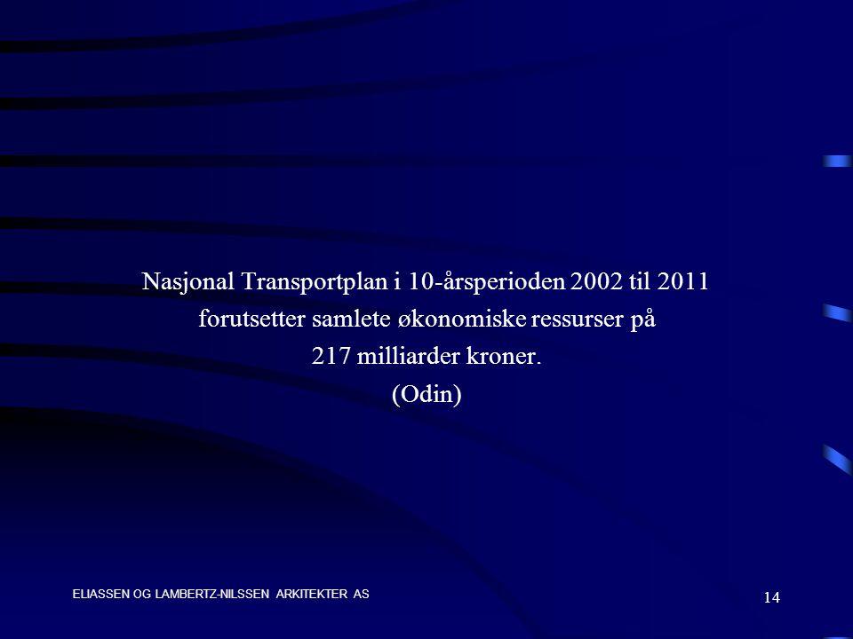 ELIASSEN OG LAMBERTZ-NILSSEN ARKITEKTER AS 14 Nasjonal Transportplan i 10-årsperioden 2002 til 2011 forutsetter samlete økonomiske ressurser på 217 milliarder kroner.