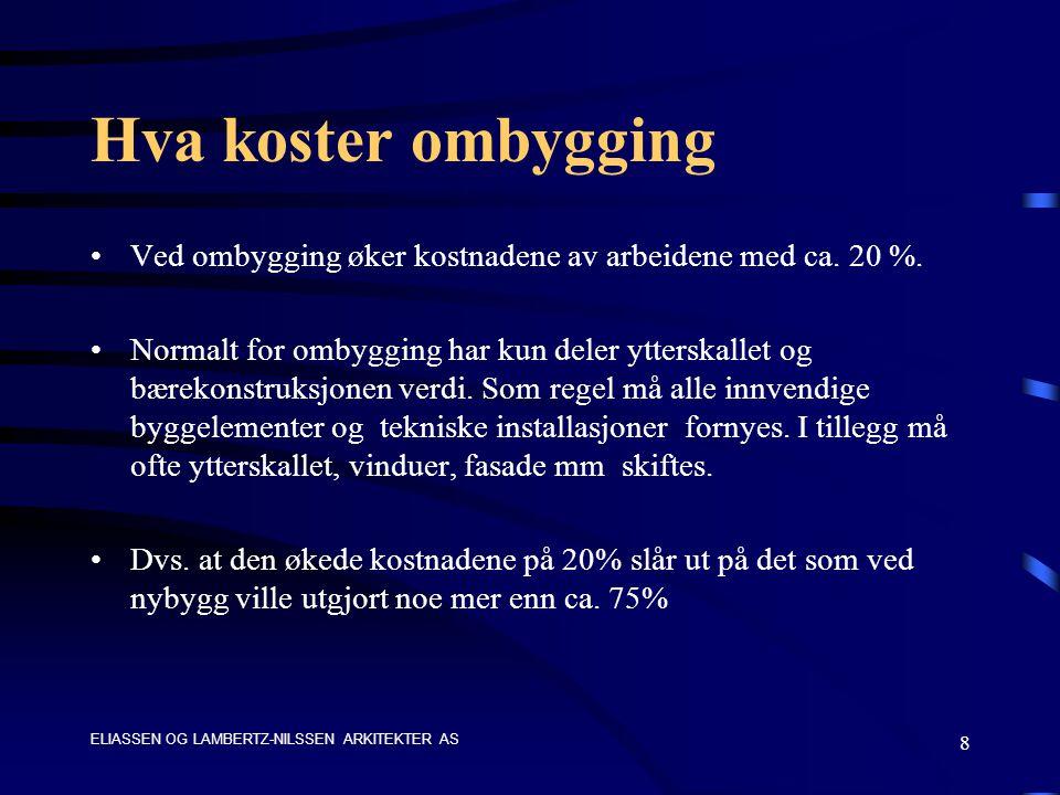 ELIASSEN OG LAMBERTZ-NILSSEN ARKITEKTER AS 8 Hva koster ombygging Ved ombygging øker kostnadene av arbeidene med ca.