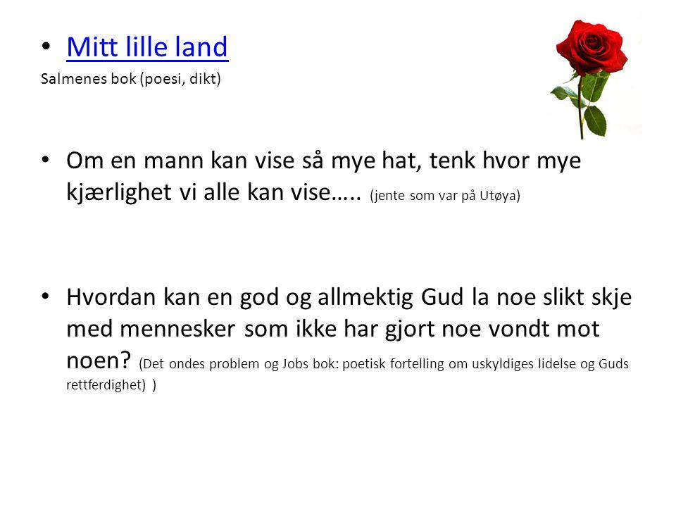 Mitt lille land Salmenes bok (poesi, dikt) Om en mann kan vise så mye hat, tenk hvor mye kjærlighet vi alle kan vise….. (jente som var på Utøya) Hvord