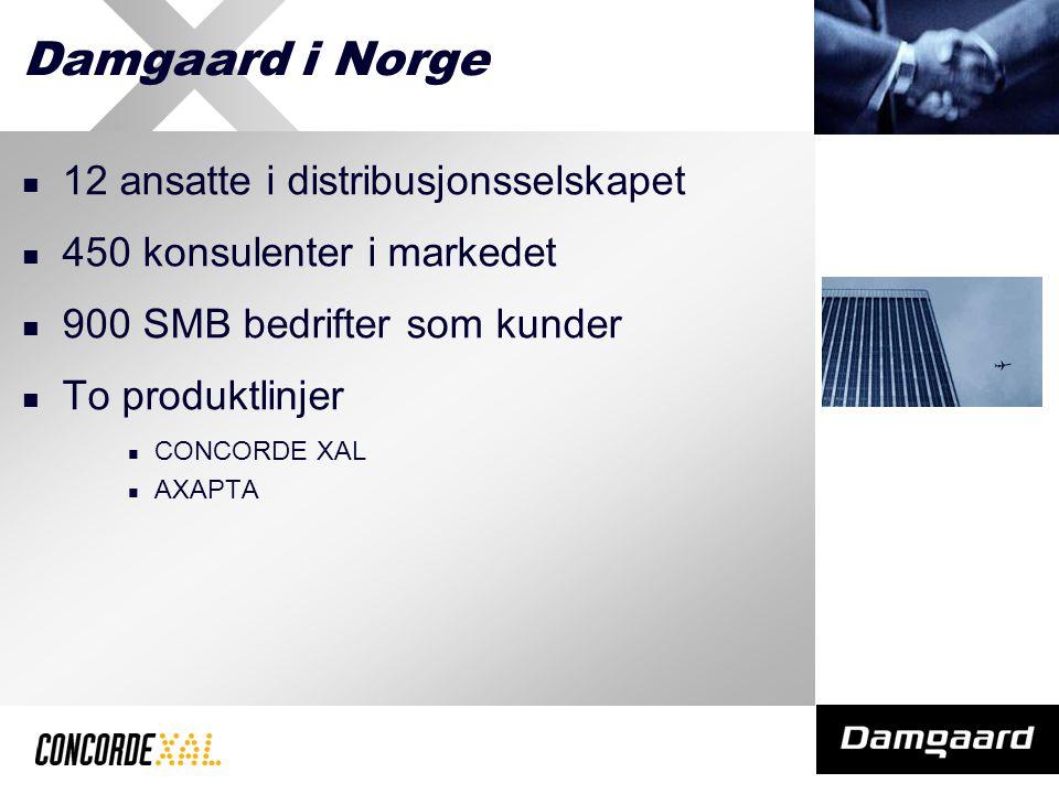 Damgaard i Norge 12 ansatte i distribusjonsselskapet 450 konsulenter i markedet 900 SMB bedrifter som kunder To produktlinjer CONCORDE XAL AXAPTA