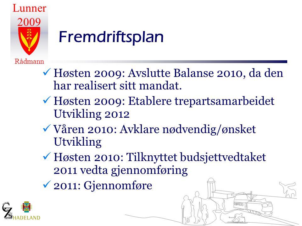 Lunner 2009 Rådmann Fremdriftsplan Høsten 2009: Avslutte Balanse 2010, da den har realisert sitt mandat.