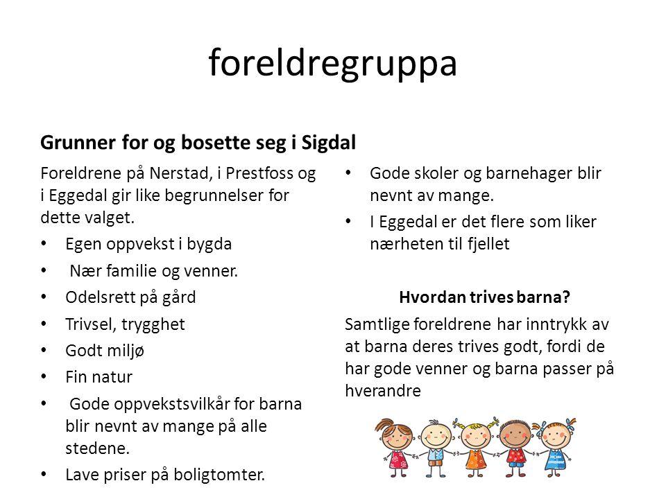 foreldregruppa Grunner for og bosette seg i Sigdal Foreldrene på Nerstad, i Prestfoss og i Eggedal gir like begrunnelser for dette valget. Egen oppvek