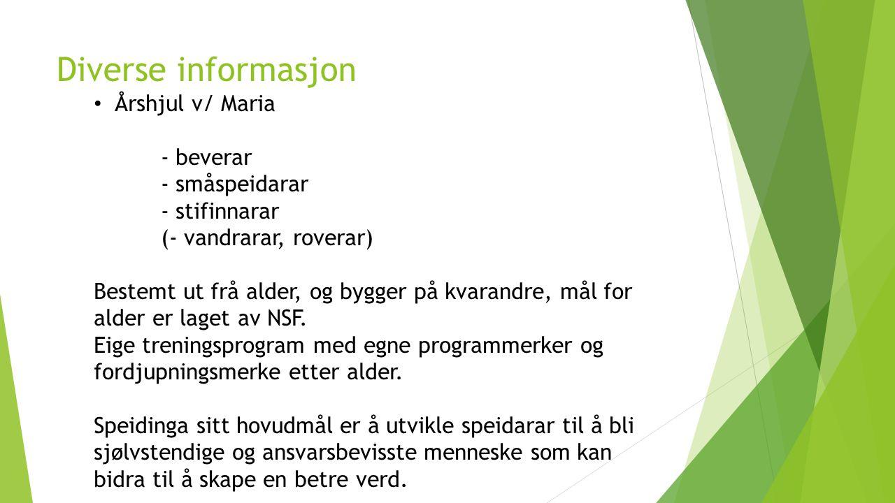 Diverse informasjon Årshjul v/ Maria - beverar - småspeidarar - stifinnarar (- vandrarar, roverar) Bestemt ut frå alder, og bygger på kvarandre, mål f