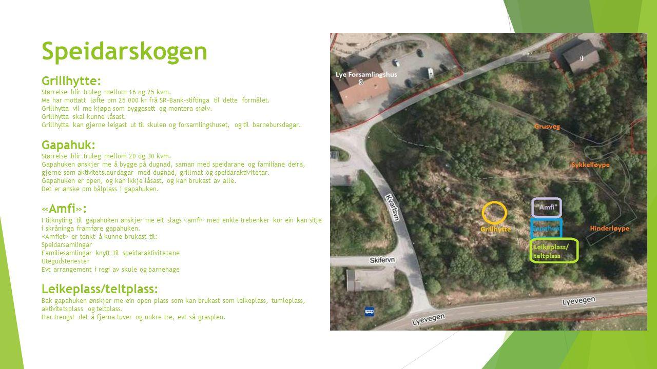 Speidarskogen Grillhytte: Størrelse blir truleg mellom 16 og 25 kvm. Me har mottatt løfte om 25 000 kr frå SR-Bank-stiftinga til dette formålet. Grill