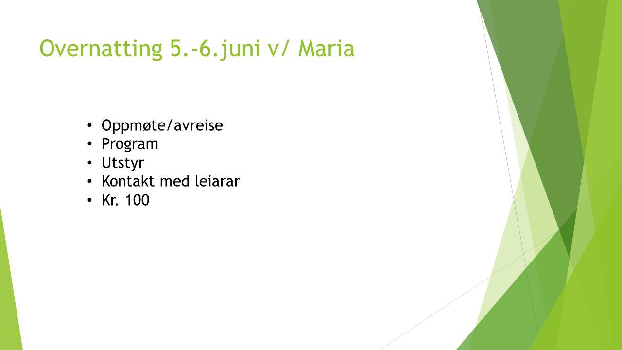 Overnatting 5.-6.juni v/ Maria Oppmøte/avreise Program Utstyr Kontakt med leiarar Kr. 100