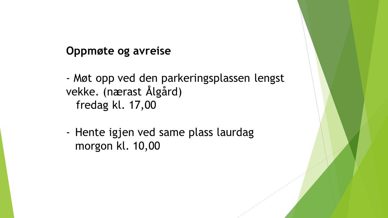 Oppmøte og avreise - Møt opp ved den parkeringsplassen lengst vekke. (nærast Ålgård) fredag kl. 17,00 -Hente igjen ved same plass laurdag morgon kl. 1
