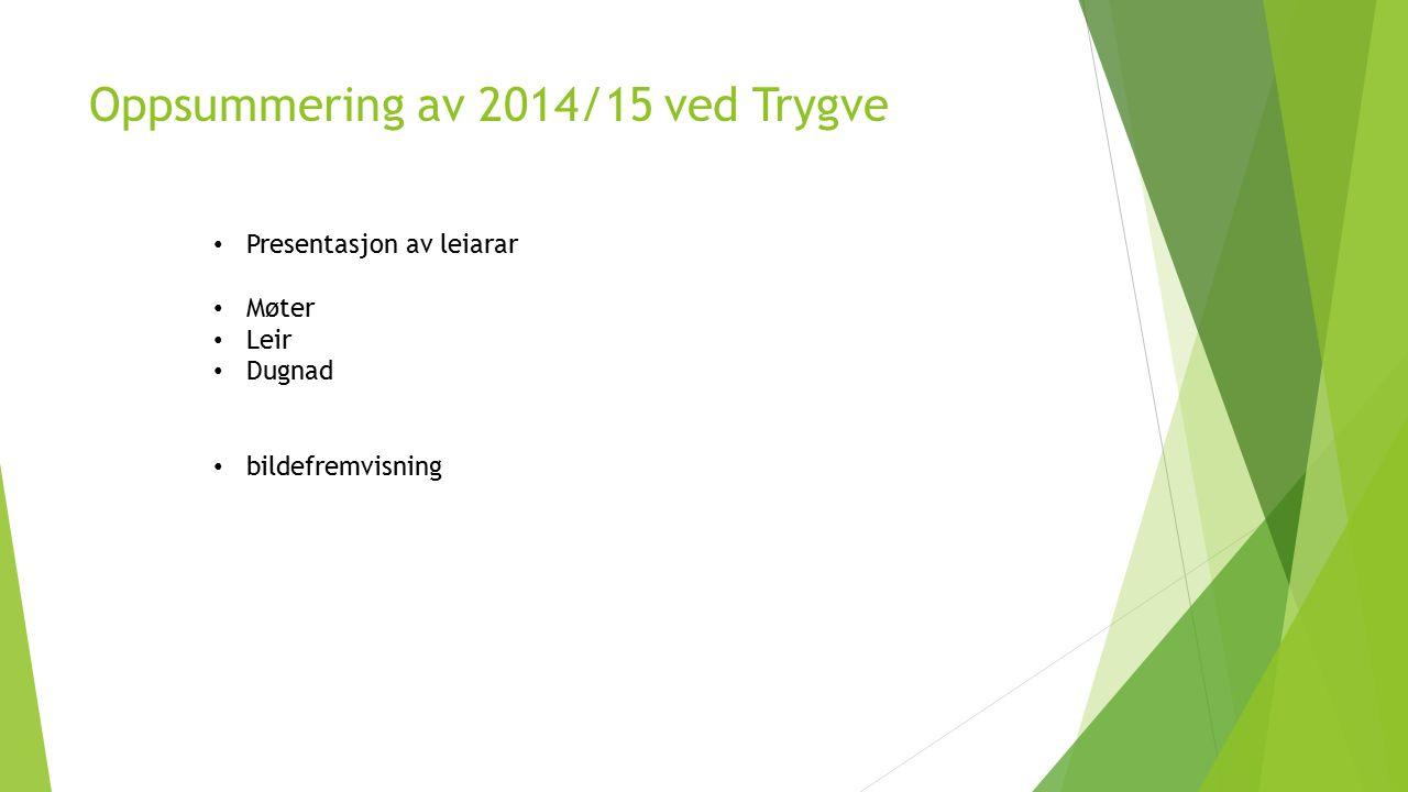 Oppsummering av 2014/15 ved Trygve Presentasjon av leiarar Møter Leir Dugnad bildefremvisning
