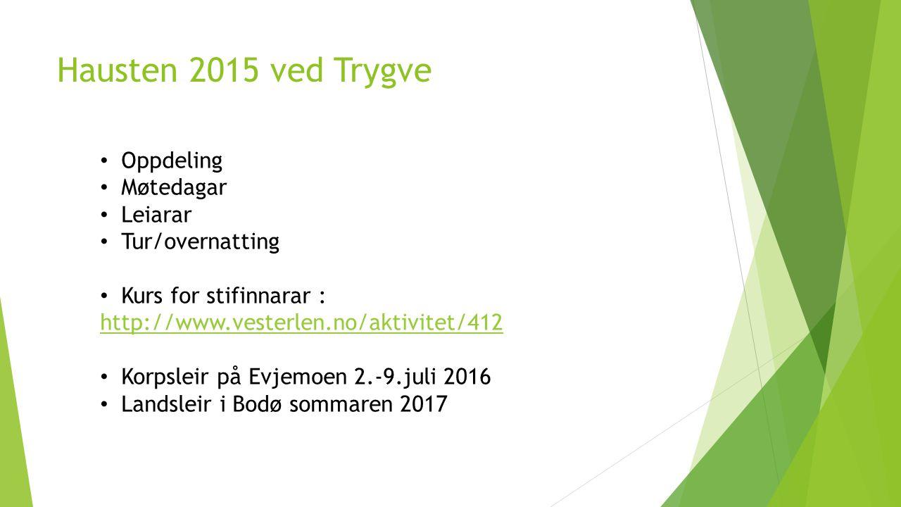 Hausten 2015 ved Trygve Oppdeling Møtedagar Leiarar Tur/overnatting Kurs for stifinnarar : http://www.vesterlen.no/aktivitet/412 Korpsleir på Evjemoen
