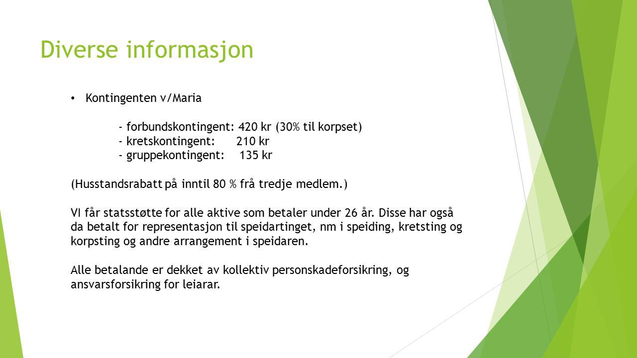Diverse informasjon Kontingenten v/Maria - forbundskontingent: 420 kr (30% til korpset) - kretskontingent: 210 kr - gruppekontingent: 135 kr (Husstand