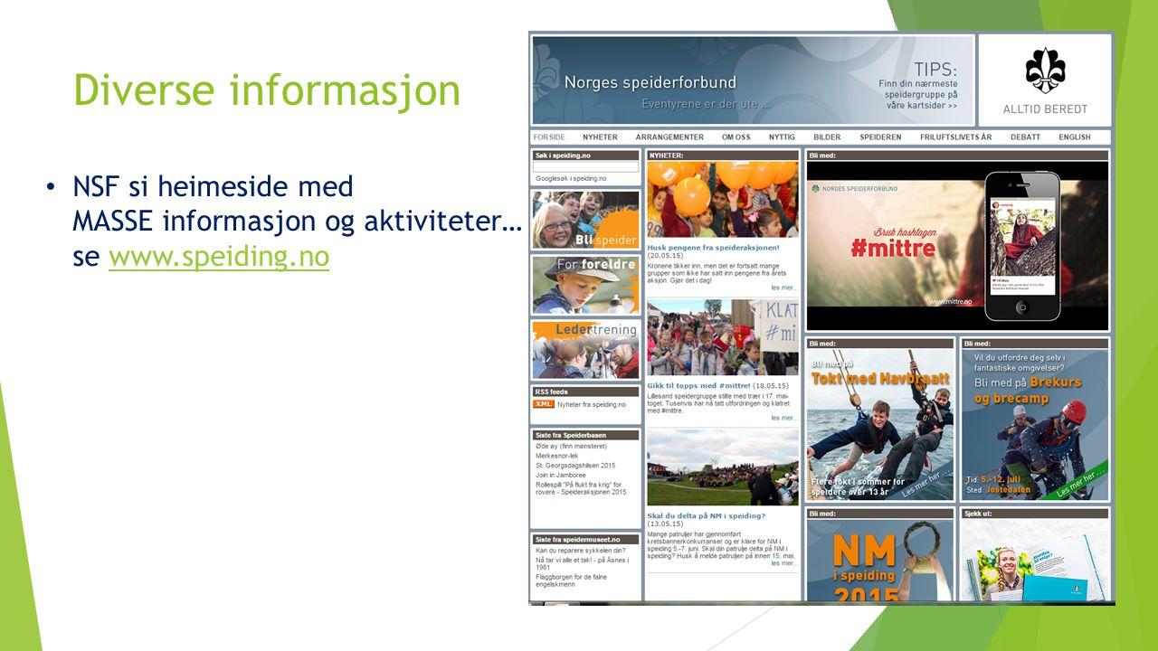 Diverse informasjon NSF si heimeside med MASSE informasjon og aktiviteter… se www.speiding.nowww.speiding.no