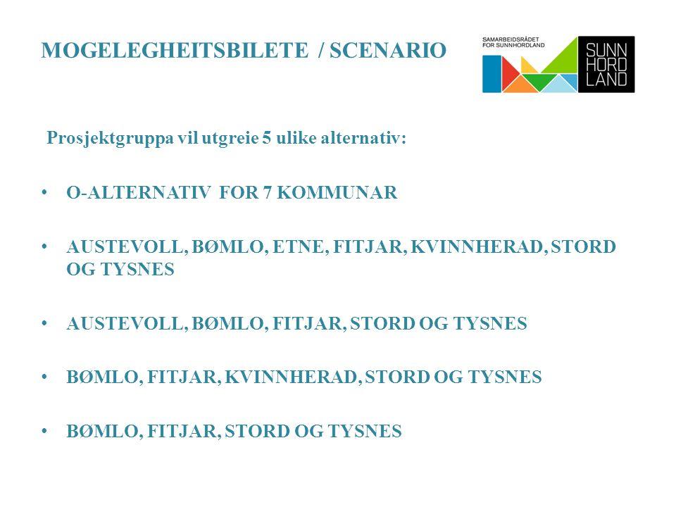 MOGELEGHEITSBILETE / SCENARIO Prosjektgruppa vil utgreie 5 ulike alternativ: O-ALTERNATIV FOR 7 KOMMUNAR AUSTEVOLL, BØMLO, ETNE, FITJAR, KVINNHERAD, STORD OG TYSNES AUSTEVOLL, BØMLO, FITJAR, STORD OG TYSNES BØMLO, FITJAR, KVINNHERAD, STORD OG TYSNES BØMLO, FITJAR, STORD OG TYSNES