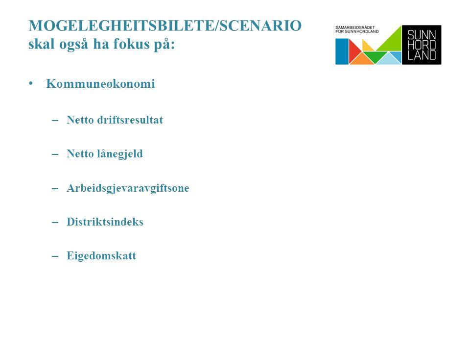 MOGELEGHEITSBILETE/SCENARIO skal også ha fokus på: Kommuneøkonomi – Netto driftsresultat – Netto lånegjeld – Arbeidsgjevaravgiftsone – Distriktsindeks – Eigedomskatt