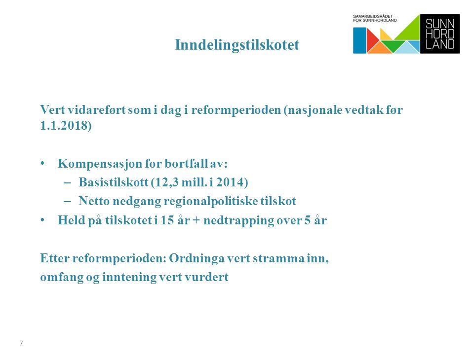 Inndelingstilskotet Vert vidareført som i dag i reformperioden (nasjonale vedtak før 1.1.2018) Kompensasjon for bortfall av: – Basistilskott (12,3 mill.