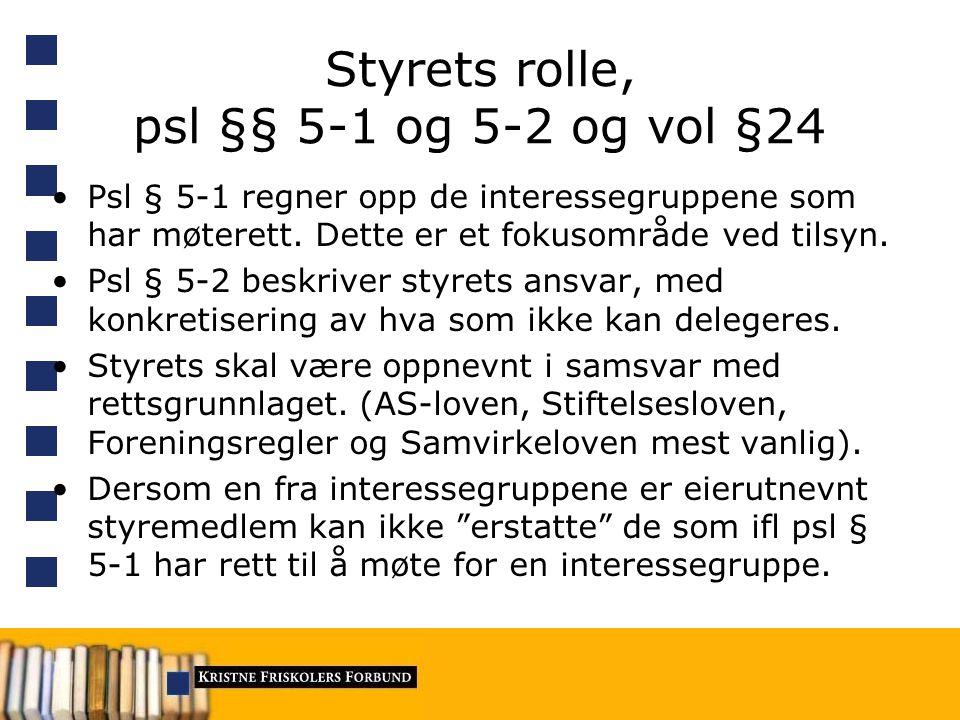 Styrets rolle, psl §§ 5-1 og 5-2 og vol §24 Psl § 5-1 regner opp de interessegruppene som har møterett.