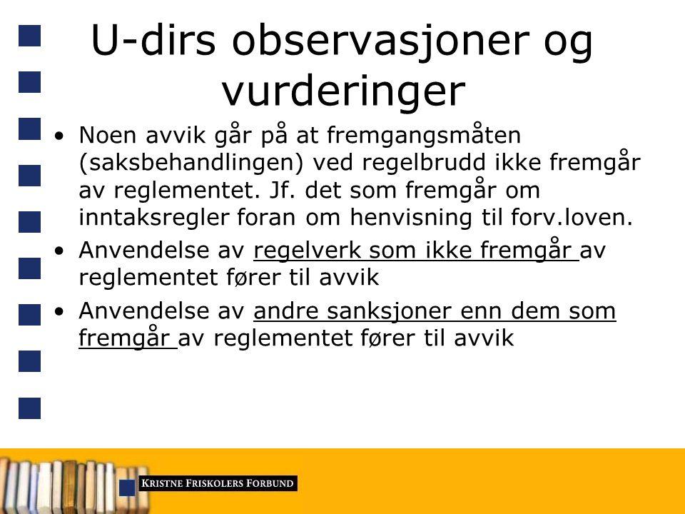 U-dirs observasjoner og vurderinger Noen avvik går på at fremgangsmåten (saksbehandlingen) ved regelbrudd ikke fremgår av reglementet.