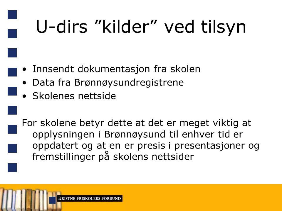U-dirs kilder ved tilsyn Innsendt dokumentasjon fra skolen Data fra Brønnøysundregistrene Skolenes nettside For skolene betyr dette at det er meget viktig at opplysningen i Brønnøysund til enhver tid er oppdatert og at en er presis i presentasjoner og fremstillinger på skolens nettsider