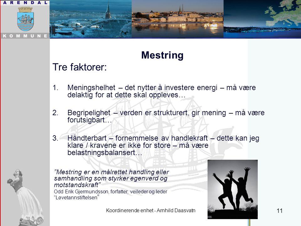 Koordinerende enhet - Arnhild Daasvatn 11 Mestring Tre faktorer: 1.Meningshelhet – det nytter å investere energi – må være delaktig for at dette skal oppleves… 2.Begripelighet – verden er strukturert, gir mening – må være forutsigbart… 3.Håndterbart – fornemmelse av handlekraft – dette kan jeg klare / kravene er ikke for store – må være belastningsbalansert… Individuell plan Mestring er en målrettet handling eller samhandling som styrker egenverd og motstandskraft Odd Erik Gjermundsson, forfatter, veileder og leder Løvetannstiftelsen